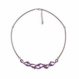 Sterling Silver Amethyst Lens Cut Adjustable Necklace