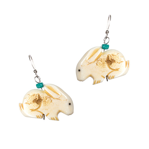 Sterling Silver Bone Turquoise Rabbit Dangle Earrings