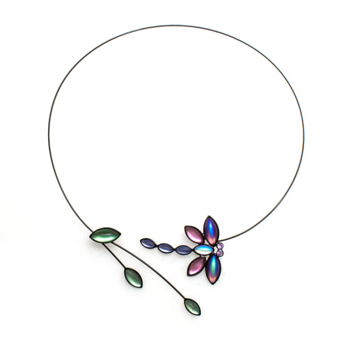 Dragonfly & Leaves Memory Wire Necklace