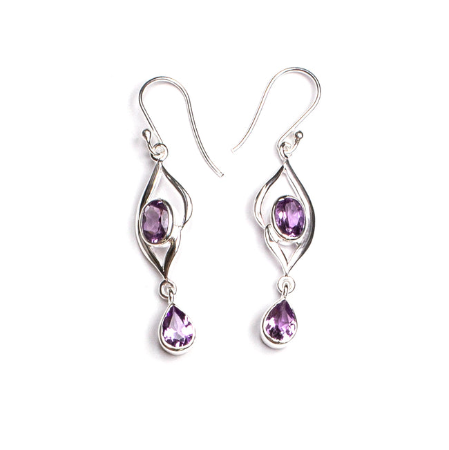 SS Marquis & Pear Blue Topaz/Amethyst Drop Dangle Earrings
