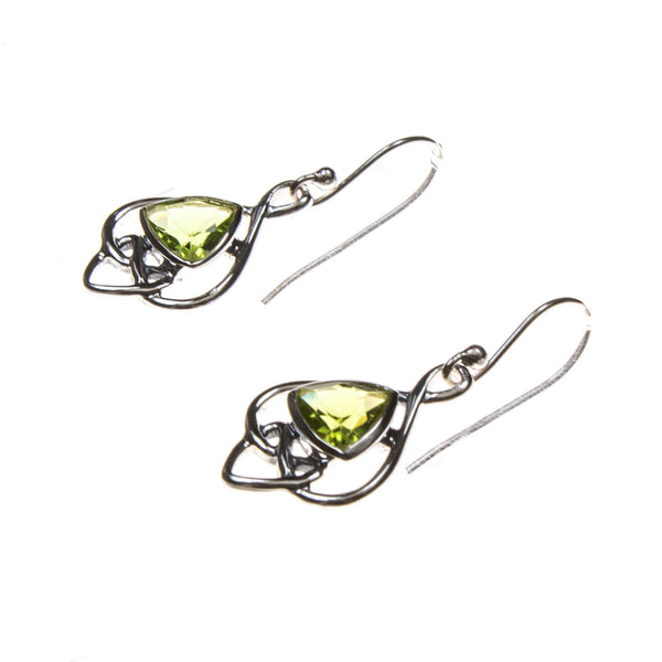 SS Peridot Trillion Celtic Knot Earrings
