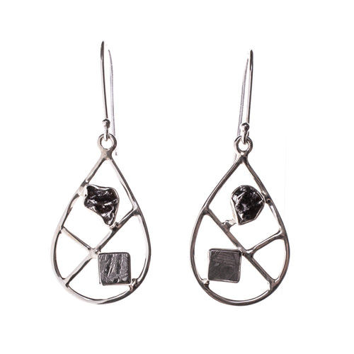 Sterling Silver Meteorite Nugget and Slab Pear Earrings