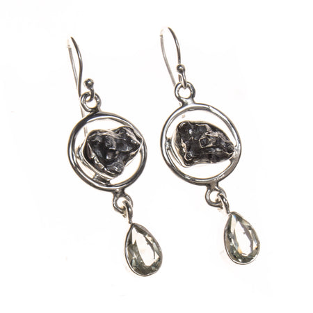 Sterling Silver Meteorite and Smokey Quartz Earrings