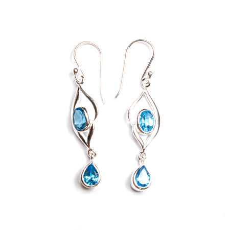Sterling Silver Open Flower Pear Earrings