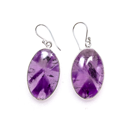 SS Dainty Amethyst and Pearl Dangle Earrings