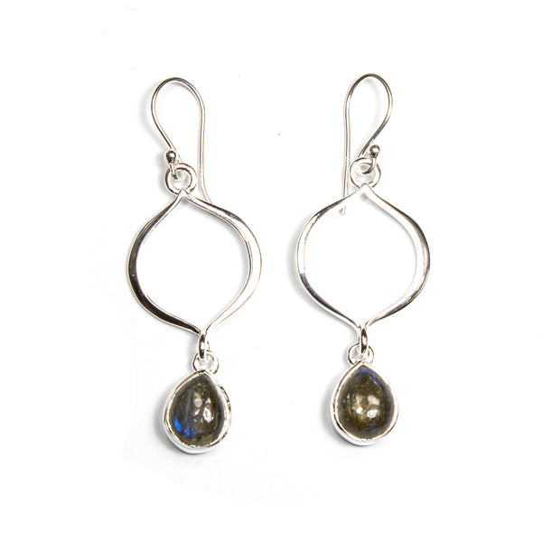 SS Labradorite/Rainbow Moonstone Marquis Cutout Dangle Earrings