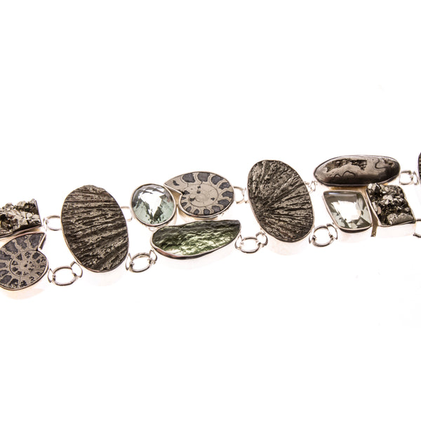 Sterling Silver Pyrite Ammonite and Green Amethyst Toggle Bracelet