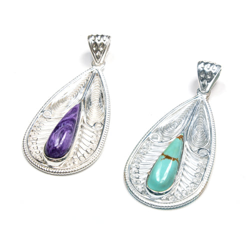 SS Turquoise/Charoite Filigree Pear Pendant