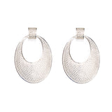 SS Large Netted Hoop Drop Post Earrings