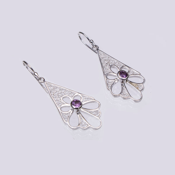 SS Triangular Flower Cutout Filigree Earrings