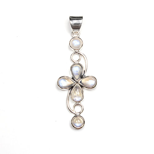 SS Rainbow Moonstone Cross Pendant