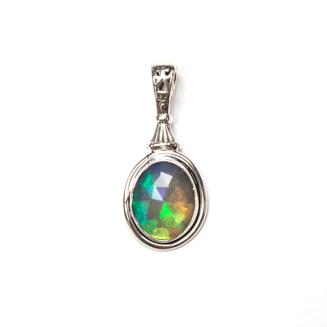 SS Faceted Ethiopian Opal w/ Worked Bail