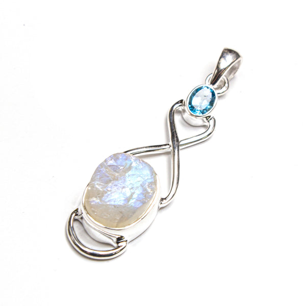 SS Blue Topaz & Rough Rainbow Moonstone Infinity Pendant