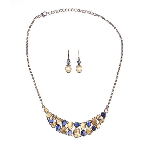 Sterling Silver Rainbow Moonstone and Kyanite Necklace and Earring Set
