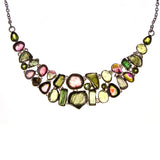 Sterling Silver Multi Green Tourmaline Necklace and Earring Set