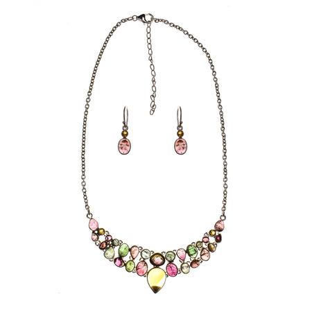 Sterling Silver Rainbow Moonstone V Necklace and Earring Set
