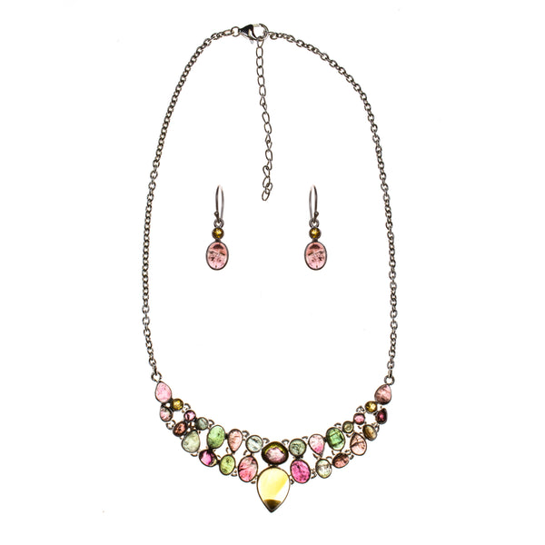 Sterling Silver Citrine and Multi-color Tourmaline Necklace and Earring Set