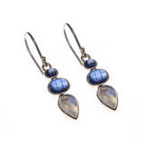 Sterling Silver Rainbow Moonstone and Kyanite Collar Necklace and Earring Set