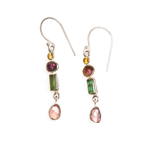 SS Multi-Tourmaline & Citrine Dangle Earrings
