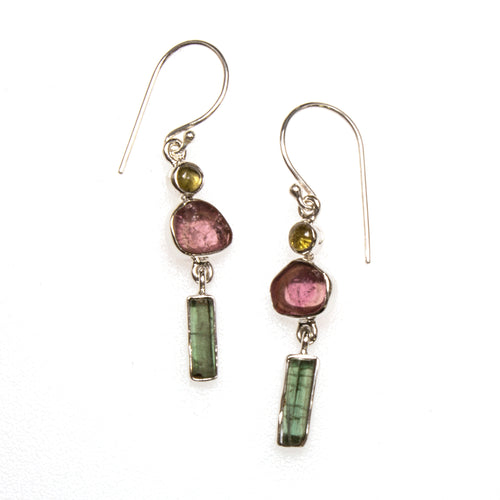 SS Yellow Multi-Tourmaline Earrings