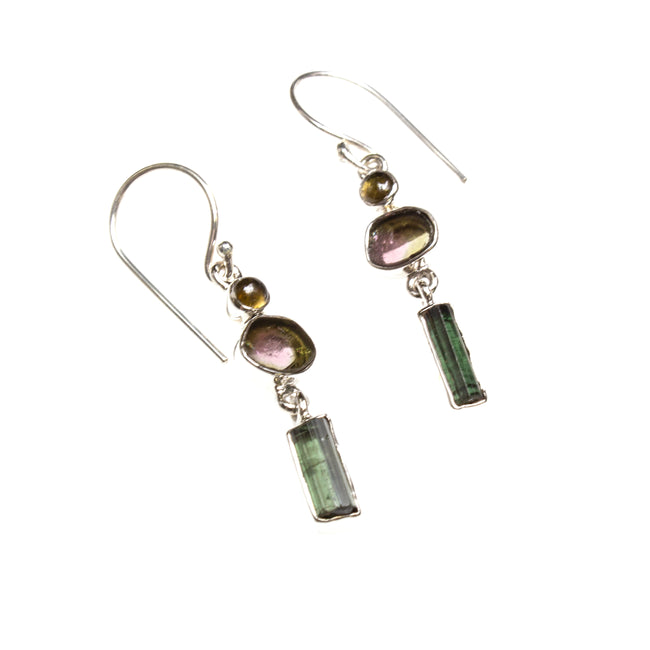 SS Watermelon and Bar Tourmaline Dangle Earrings