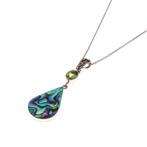 SS Abalone Pear and Peridot Necklace