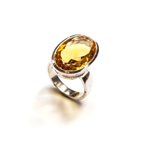 SS Citrine Oval Bezel Ring Size 7
