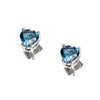 SS London Blue Topaz Heart Stud Earrings