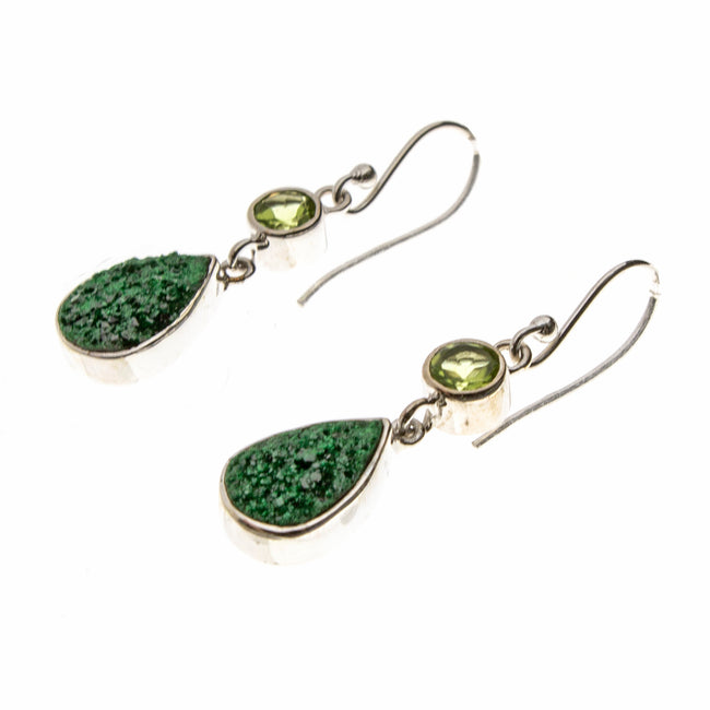 SS Uvarovite Pear and Peridot Dangle Earrings