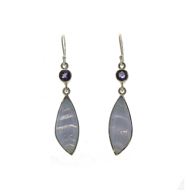 SS Blue Lace Agate & Iolite Drop Earrings