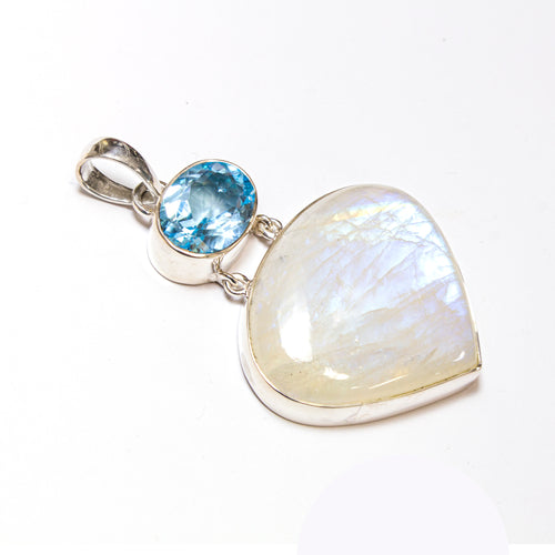SS Blue Topaz Oval & Rainbow Moonstone Pear Pendant