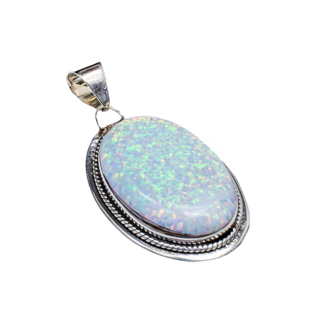 Sterling Silver Created Opal Oval Large Rope Pendant