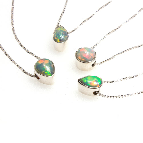 SS Assorted Ethiopian Opal Bezel Necklaces