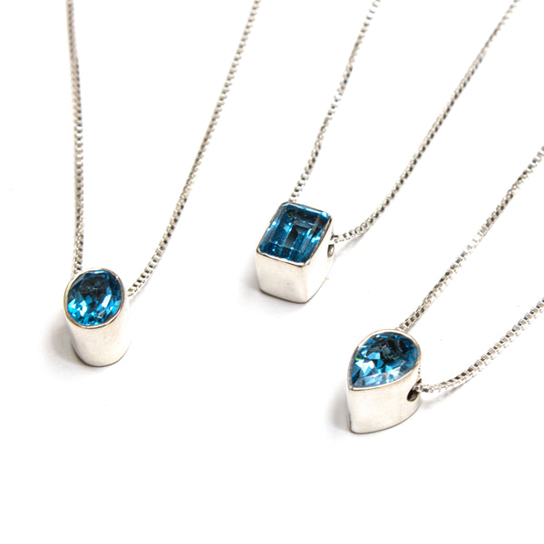 SS Assorted London Blue Topaz Bezel Necklaces