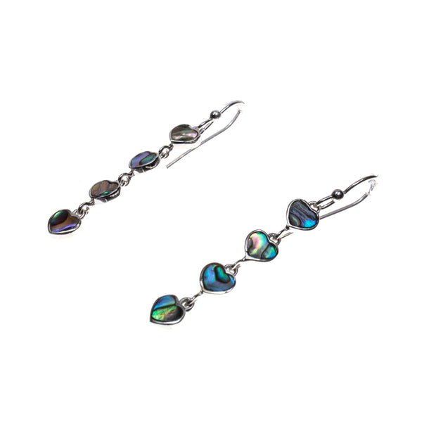 Sterling Silver Abalone Heart Dangle Earrings