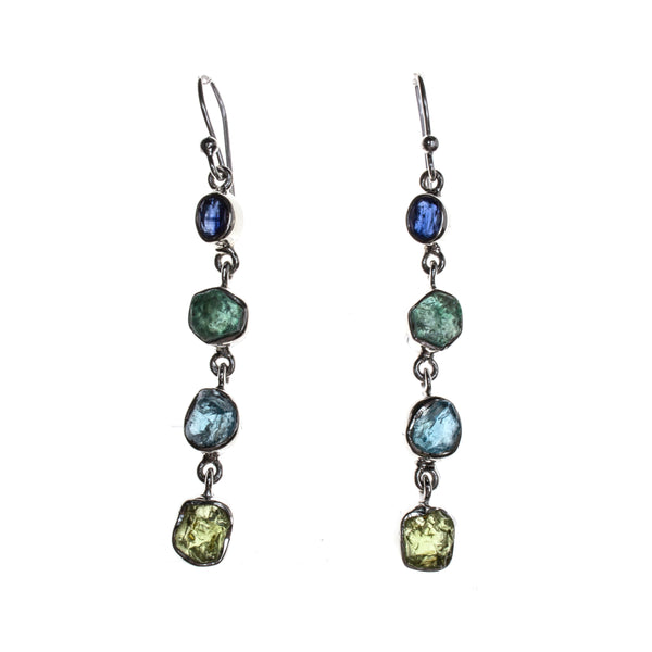 Sterling Silver Peridot Apatite Blue Topaz Kyanite Dangle Earrings