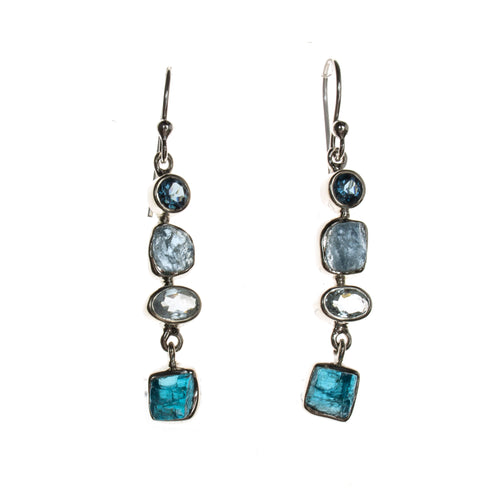 Sterling Silver Aquamarine Apatite London Topaz Drop Dangle Earrings