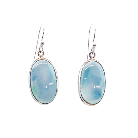 SS 2 Turquoise Bezel Dangle Earrings