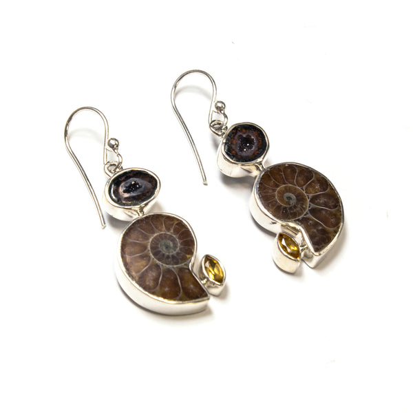 SS Geode, Ammonite & Citrine Earrings