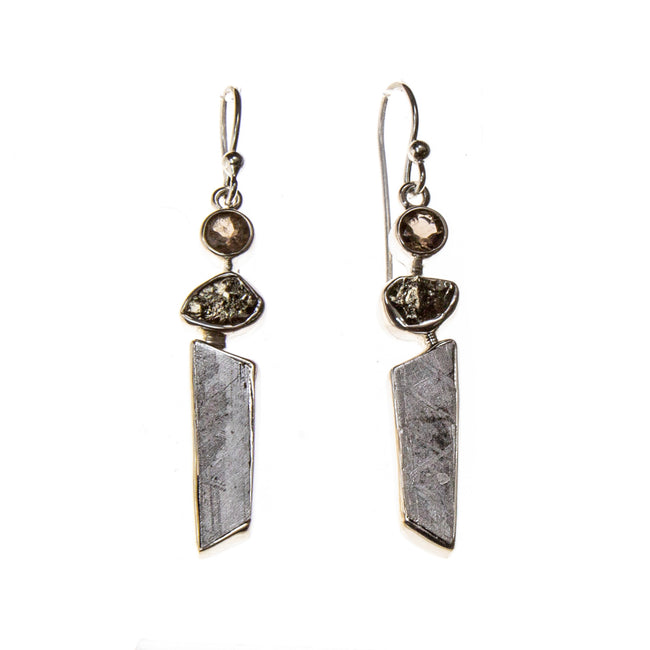 Sterling Silver Meteorite Nugget, Bar and Smokey Quartz Earrings
