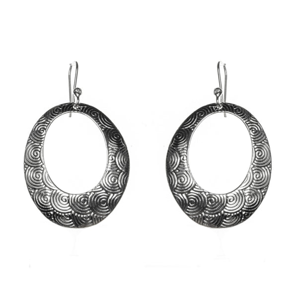 Sterling Silver Spiral Etched Oval Hoop Dangle Earrings