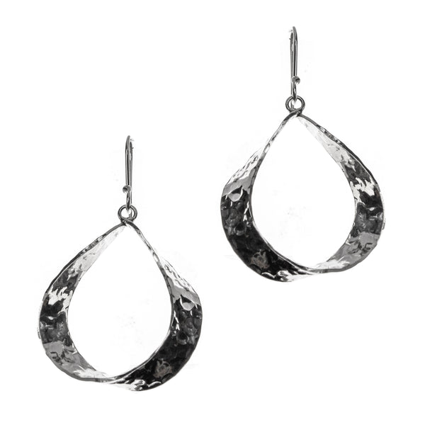 Hammered Sterling Silver Pear Twist Dangle Earrings