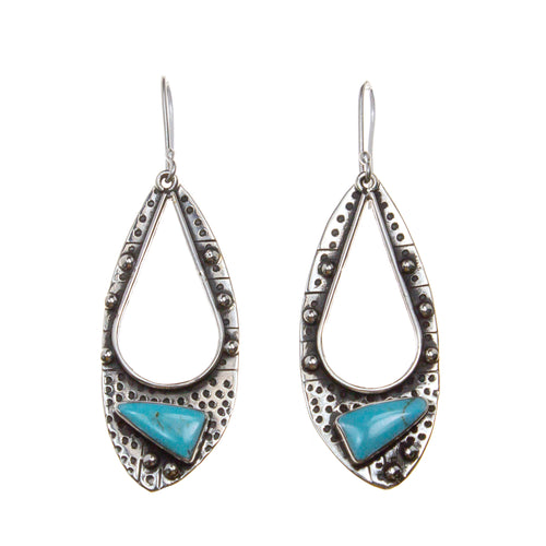 Oxidized Sterling Silver Textured Pear Stone Earrings