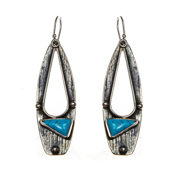 Oxidized Sterling Silver Oval Turquoise Triangle Earring