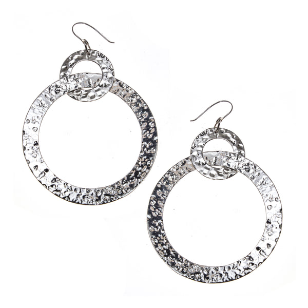 Hammered Sterling Silver Linked Circle Earrings