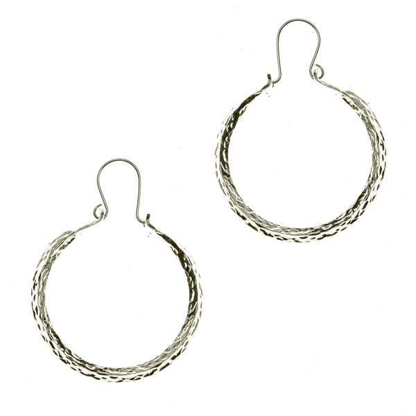 Hammered Sterling Silver 4-sided Hoop Earrings