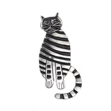 Oxidized Sterling Silver Striped Cat Pendant
