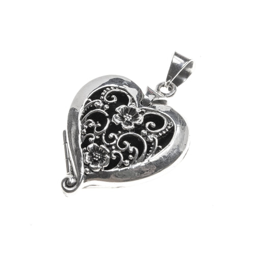 Sterling Silver Heart Locket with Flower Cutouts