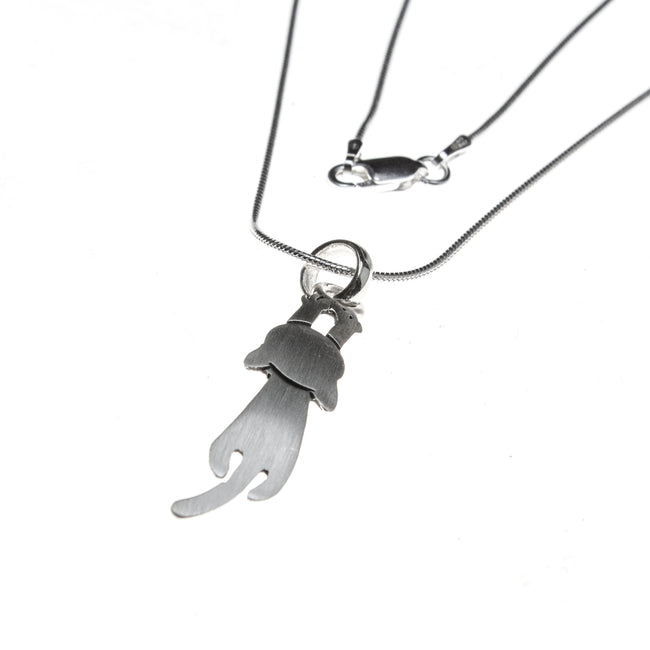 Sterling Silver Hang in There Cat Necklace