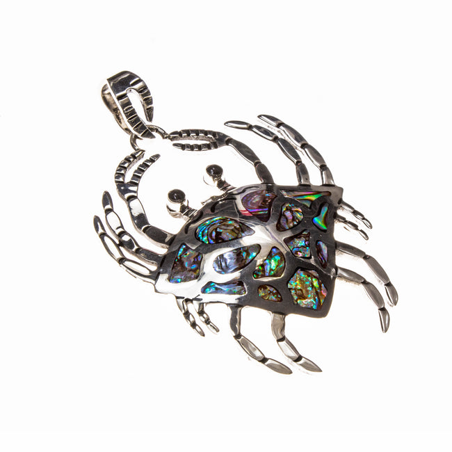 Sterling Silver Abalone and Onyx Crab Pendant